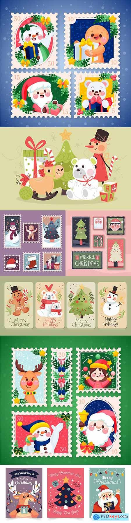 Christmas stamps and postcards flat design collection painted