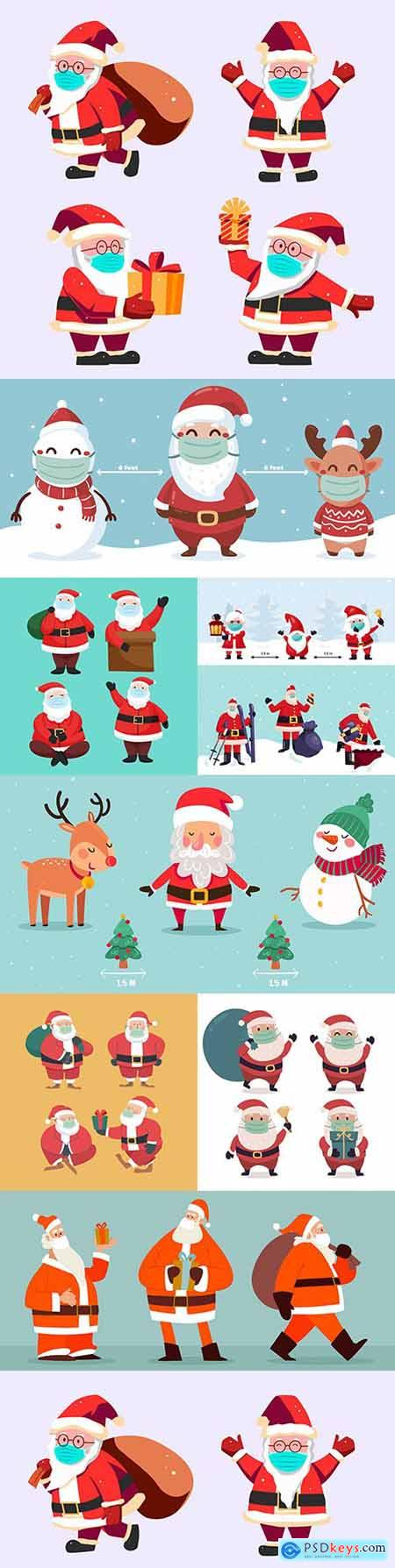 Santa Claus in social distancing mask with Christmas characters