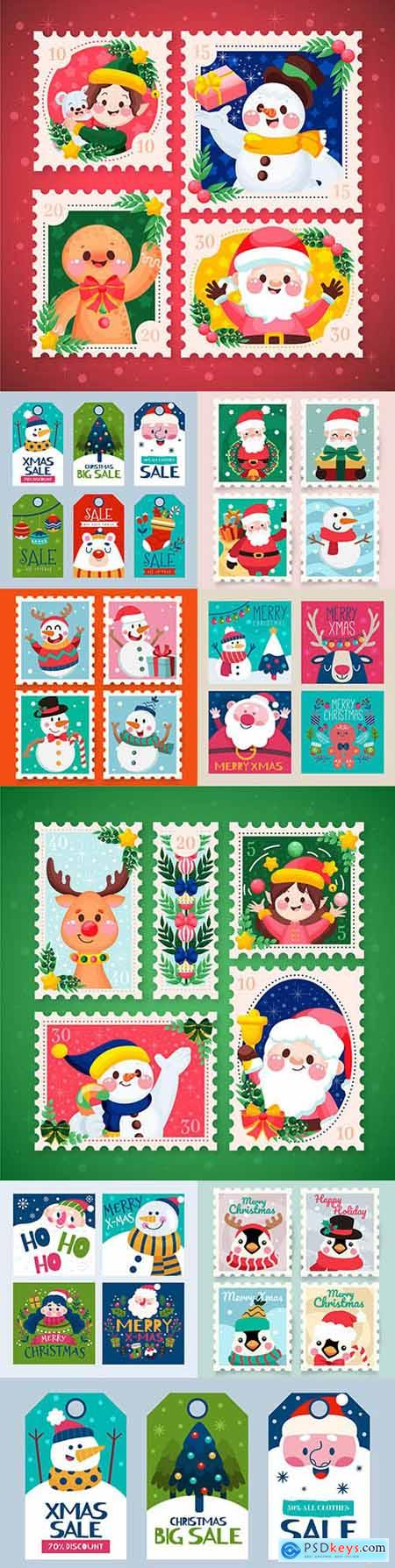 Christmas stamps and postcards flat design collection painted 2