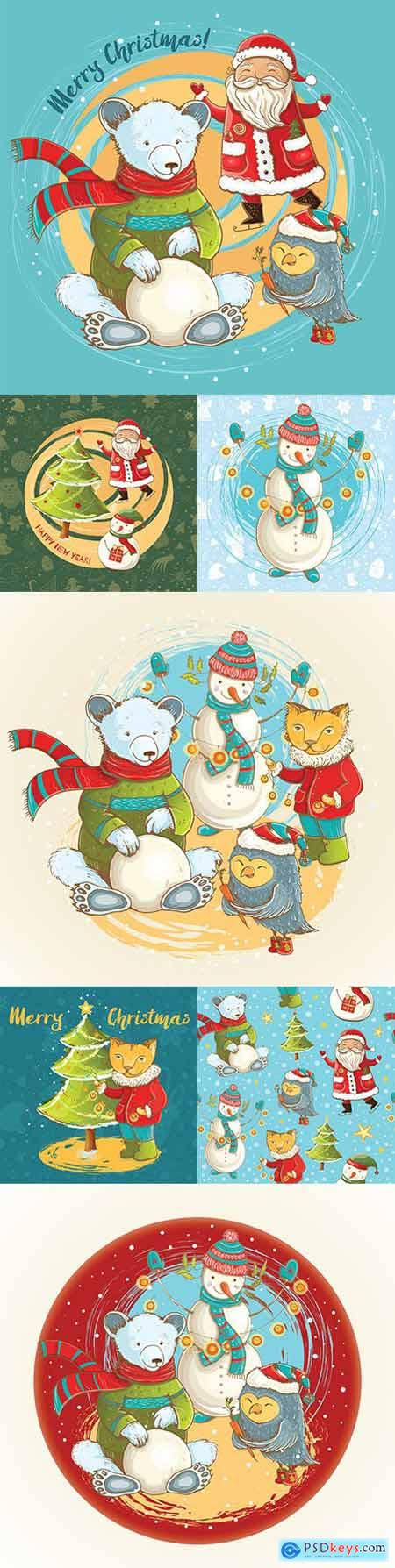 Christmas cartoon illustration snowman and fun Santa