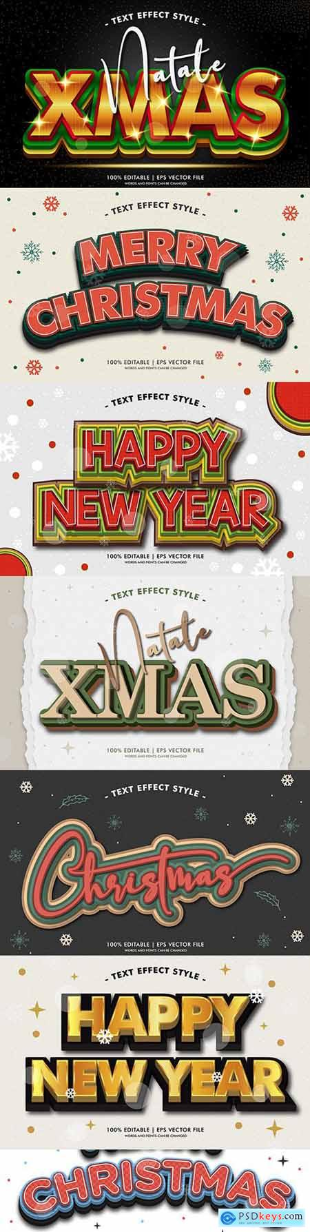 Merry Christmas editable font effect text collection 3