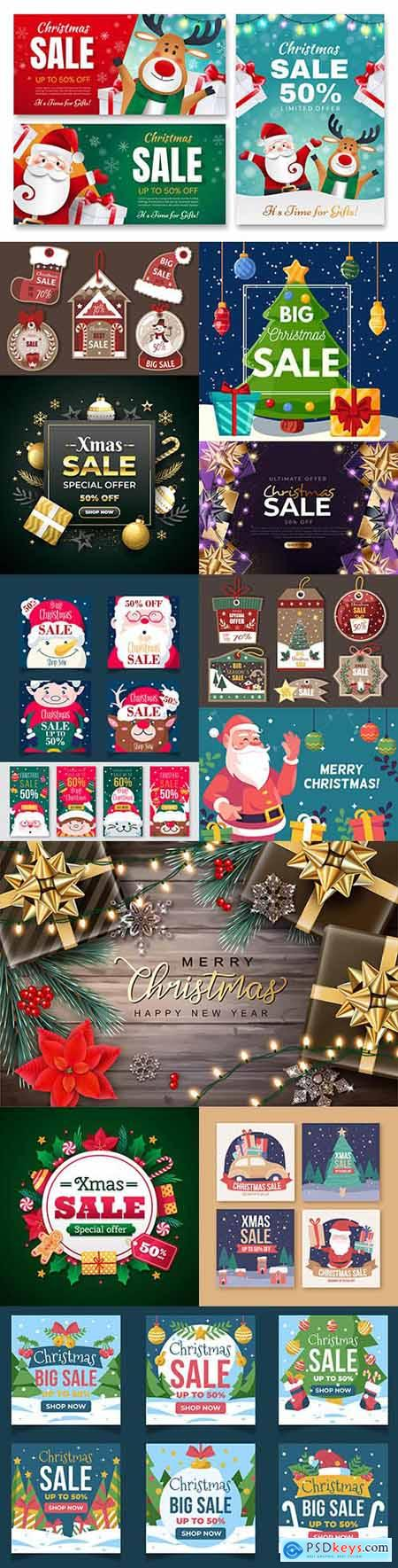 Christmas sale instagram template on social networks
