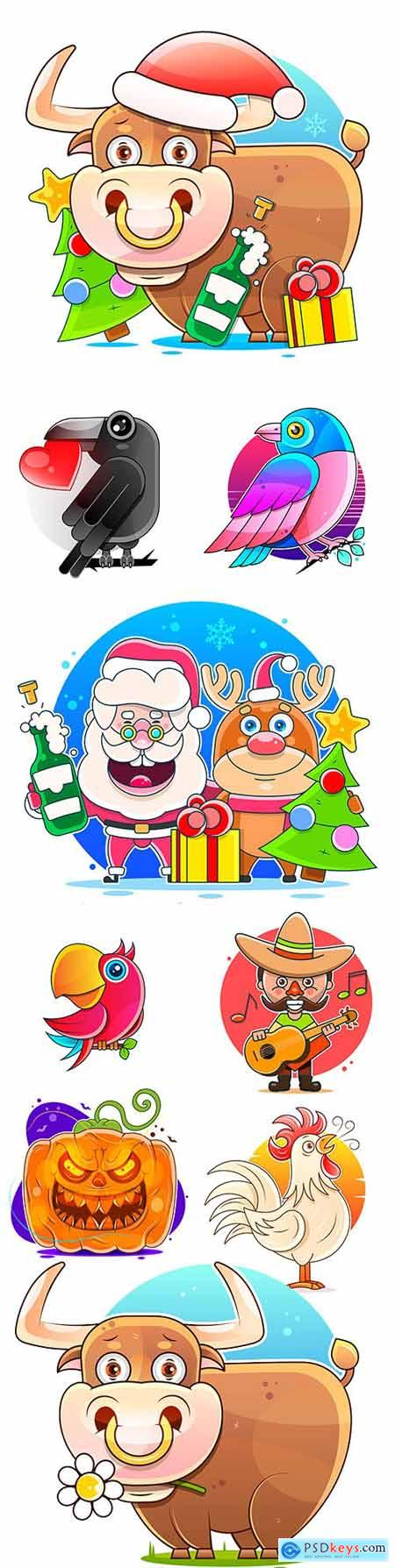 Symbol of year bull and collection of different cartoon characters illustration