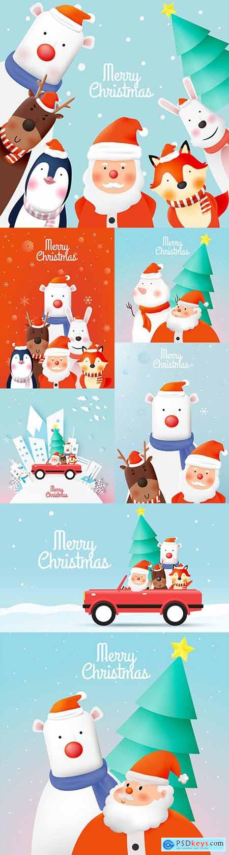 Santa Claus and friends animal cute New Year characters