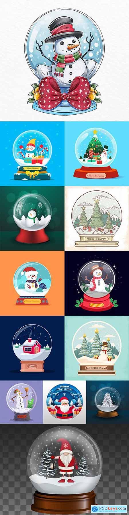 Christmas snow ball illustration in flat design