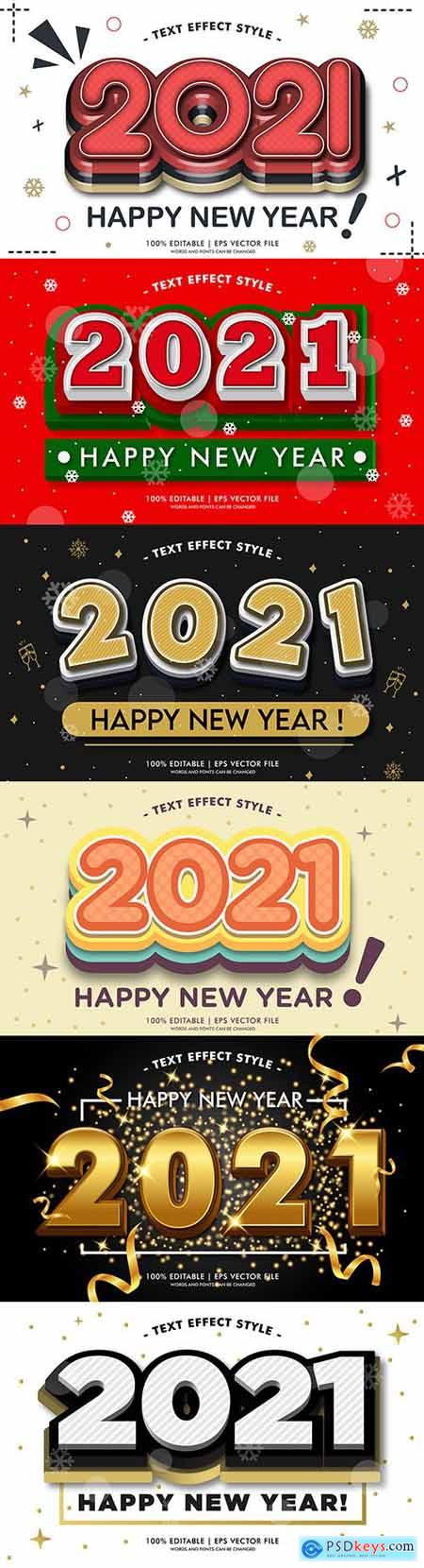 Happy New Year 2021 beautiful design text effects