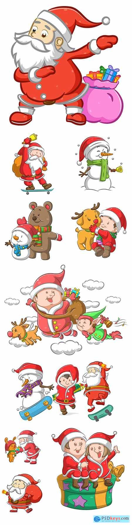 Santa Claus with bag of gifts and snowman with scarf
