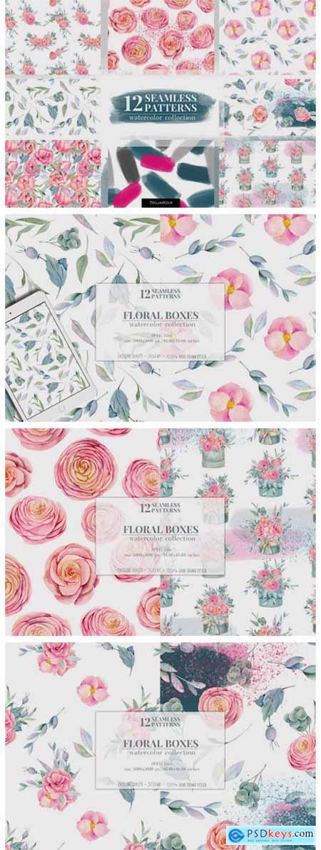 Floral Boxes Seamless Patterns Set 7063909