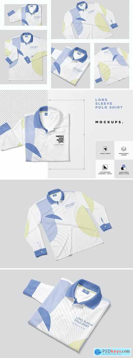 Long Sleeve Polo Shirt Mockups