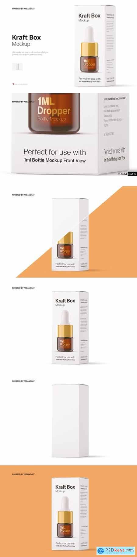 Kraft Paper Box Mockup for Dropper Bottle