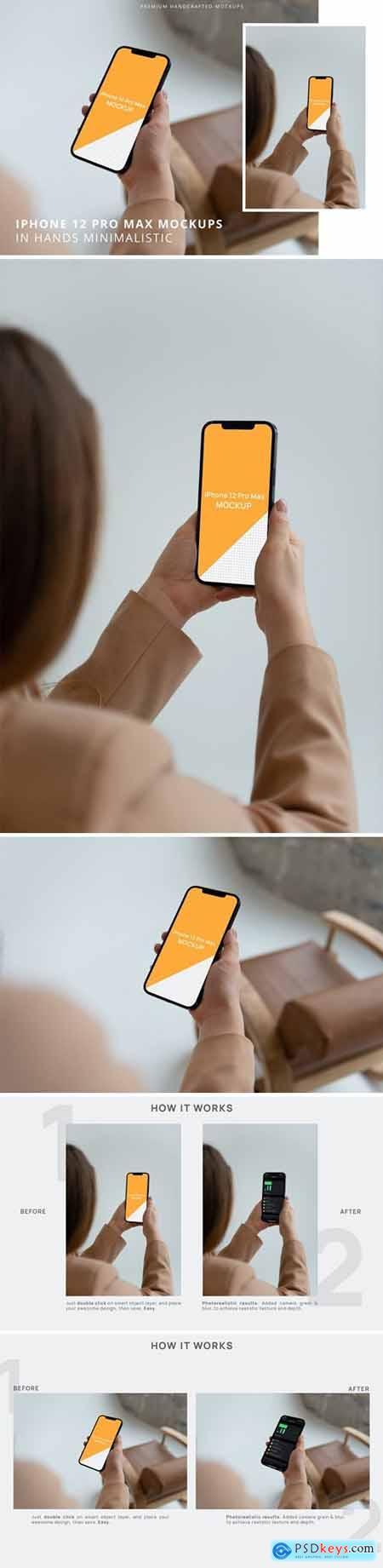 iPhone 12 Pro Max in Hands Minimalistic Mockups