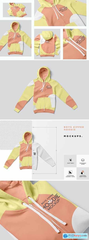 Zipper Hoodie for Boys Mockups