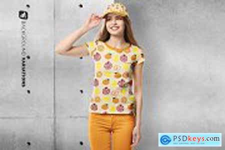 Womens Tshirt With Cap Mockup 5302964