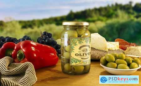 Stuffed Green Olives Jar Mockup