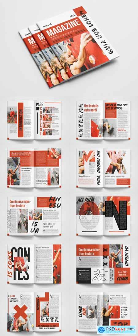 Magazine Layout with Red Accents 388583529