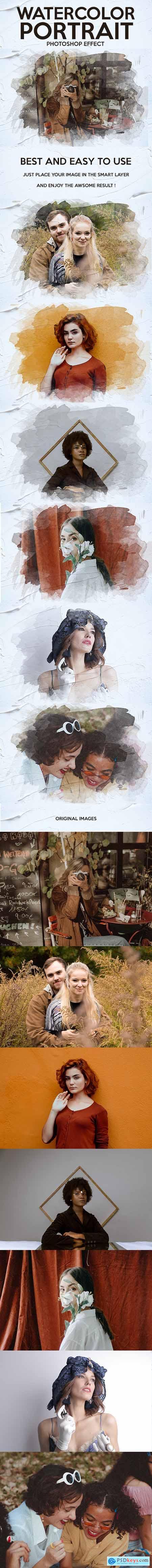 Watercolor Portrait Photoshop Effect 30045297