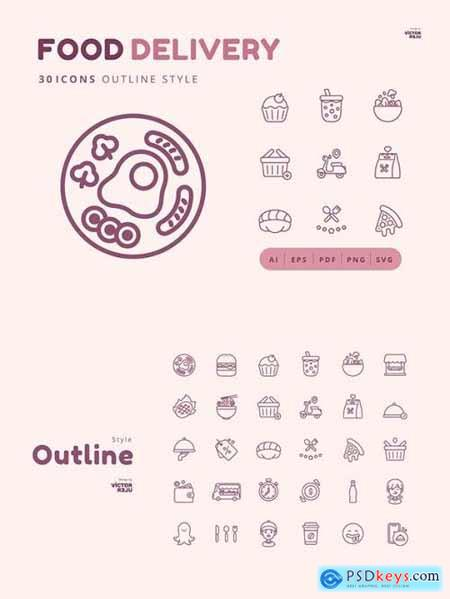 30 Icons Food Delivery Outline Style