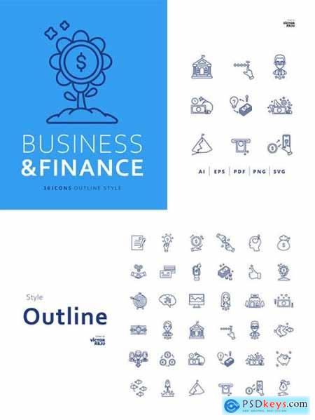 36 Business and Finance Icons Outline Style