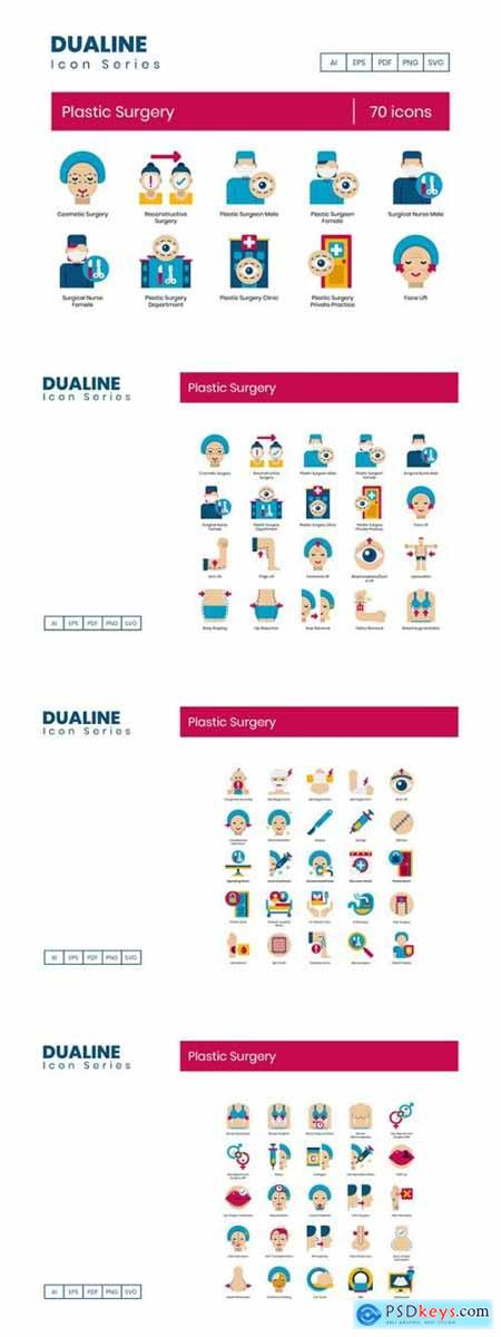 70 Plastic Surgery Icons - Dualine Flat Series