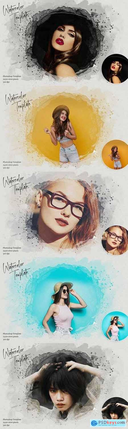 Watercolor Photoshop Template