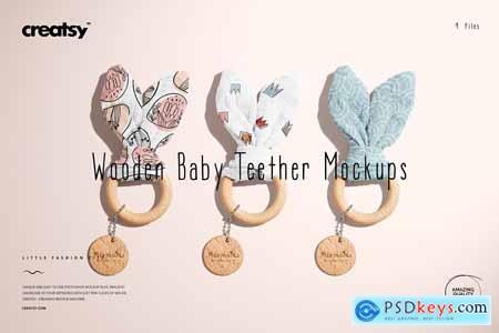 Wooden Baby Teether Mockup Set 5796385