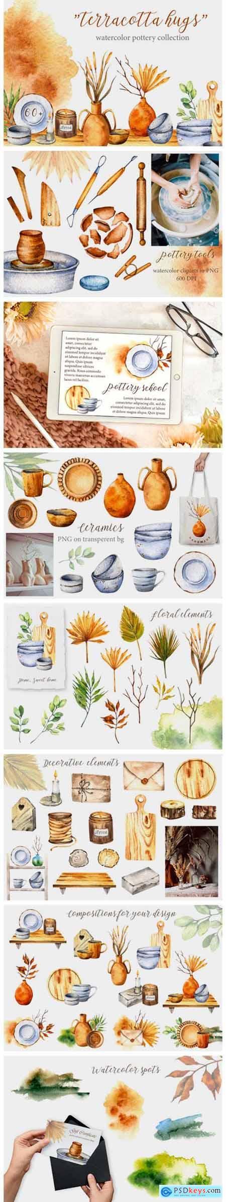 Terracotta Hugs Watercolor Pottery Set 8464814