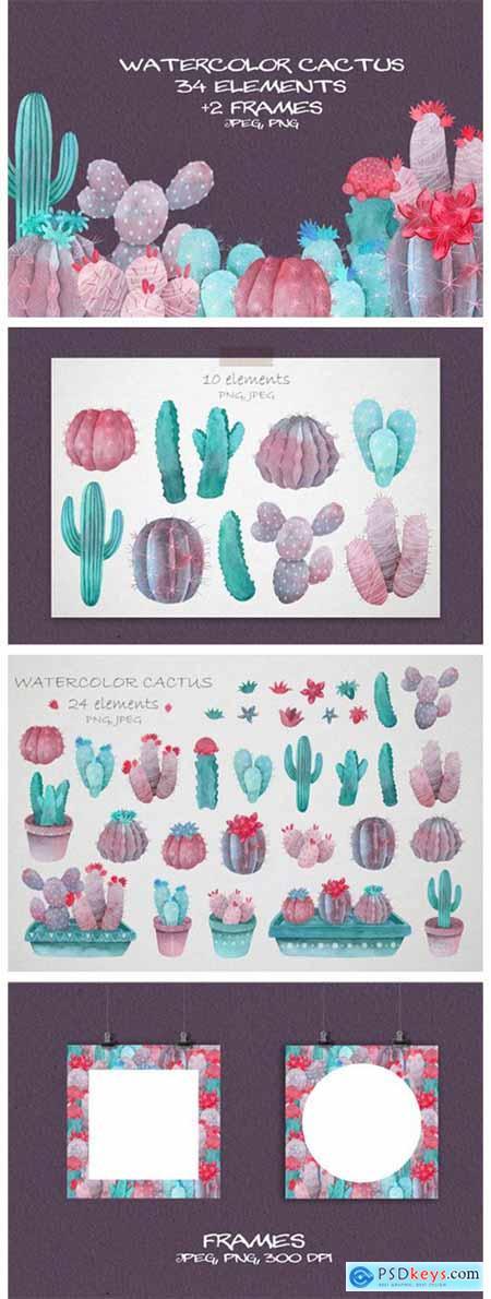 Violet Watercolor Cactus Clipart 8439734