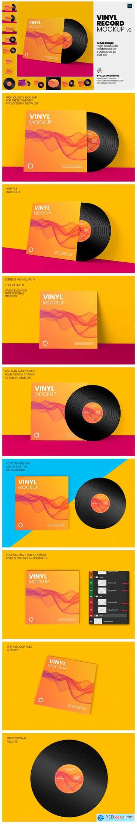 Vinyl Record Mockup V.2 - 13 Views 8444045