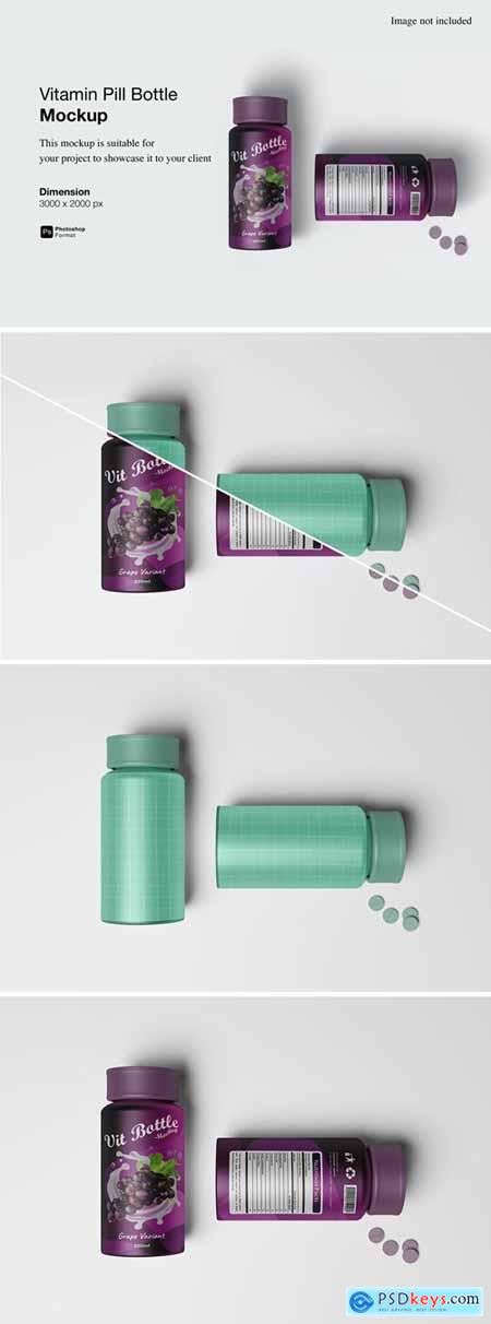 Vitamin Pill Bottle Mockup