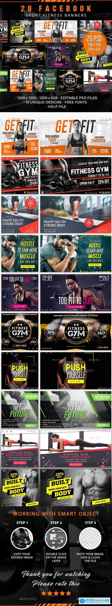20 Facebook Sport Fitness Banners 30127784