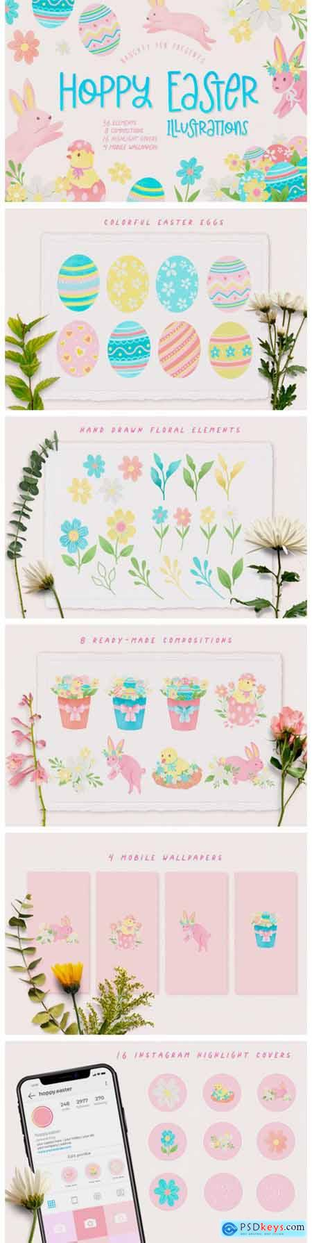 Hoppy Easter Spring Bunnies Illustration 8638459