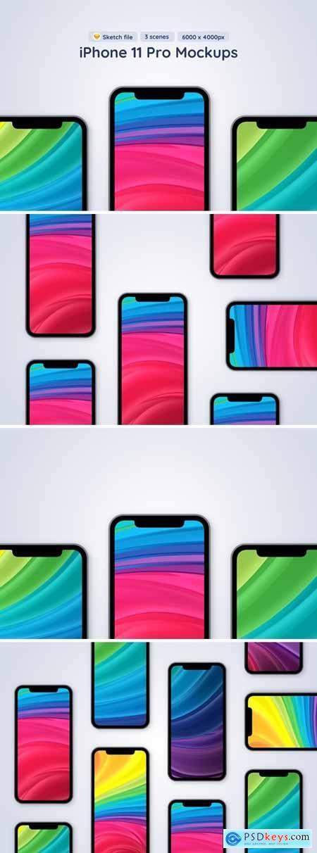 iPhone 11 Pro - 3 Sketch Mockups