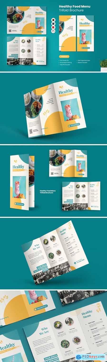 Healthy Food Menu Trifold Brochure