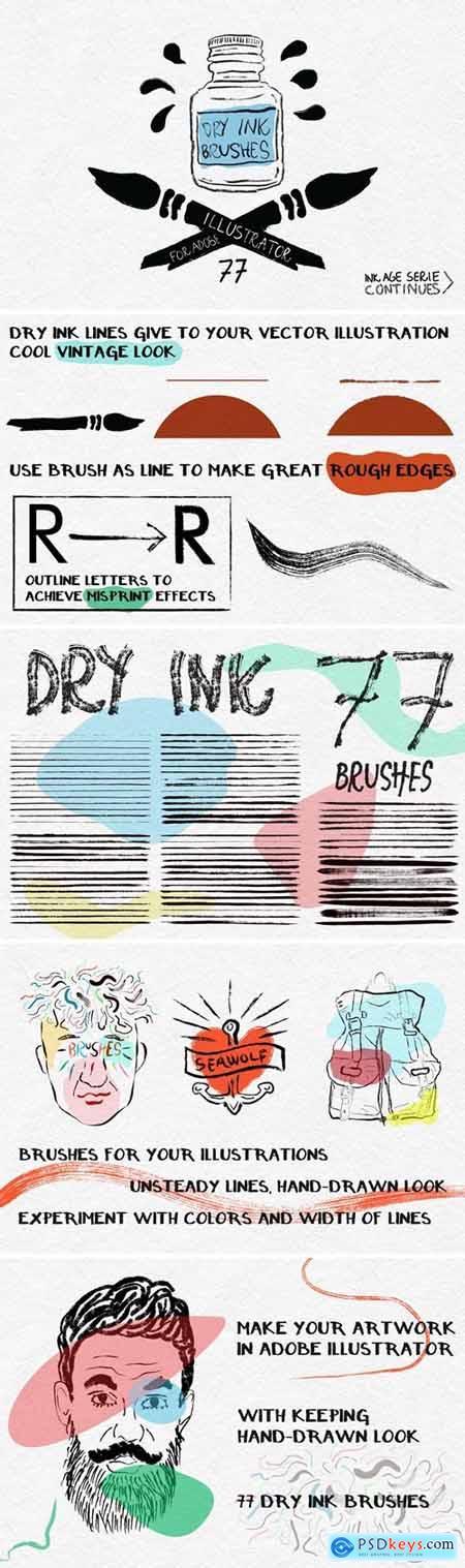 Dry Ink Brushes for Adobe Illustrator 69323