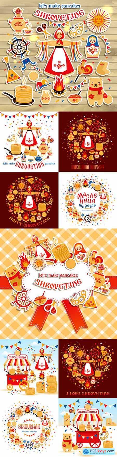 Wide Shrovetide national holiday and design elements illustration
