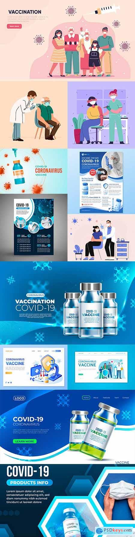 Coronavirus vaccine doctor and patient design illustration