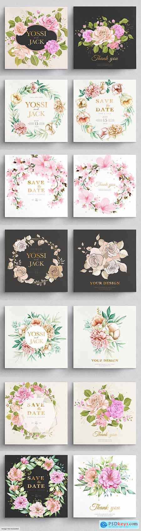 Wedding elegant invitation template with flowers and leaves