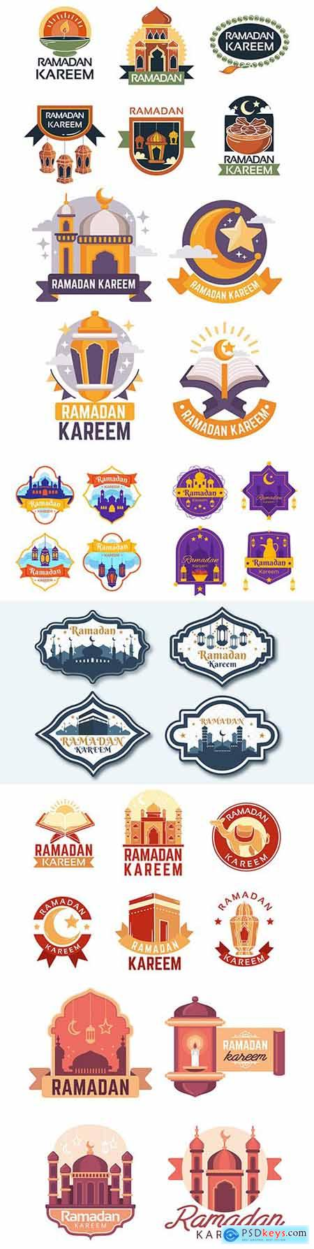 Ramadan Kareem design flat collection emblems