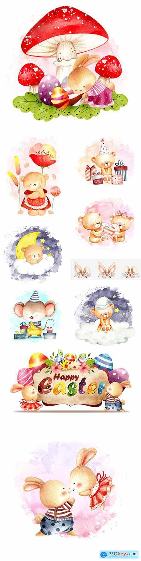 Teddy bear and bunny watercolor illustrations