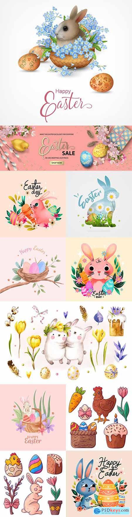 Happy Easter collection of watercolor elements with rabbits