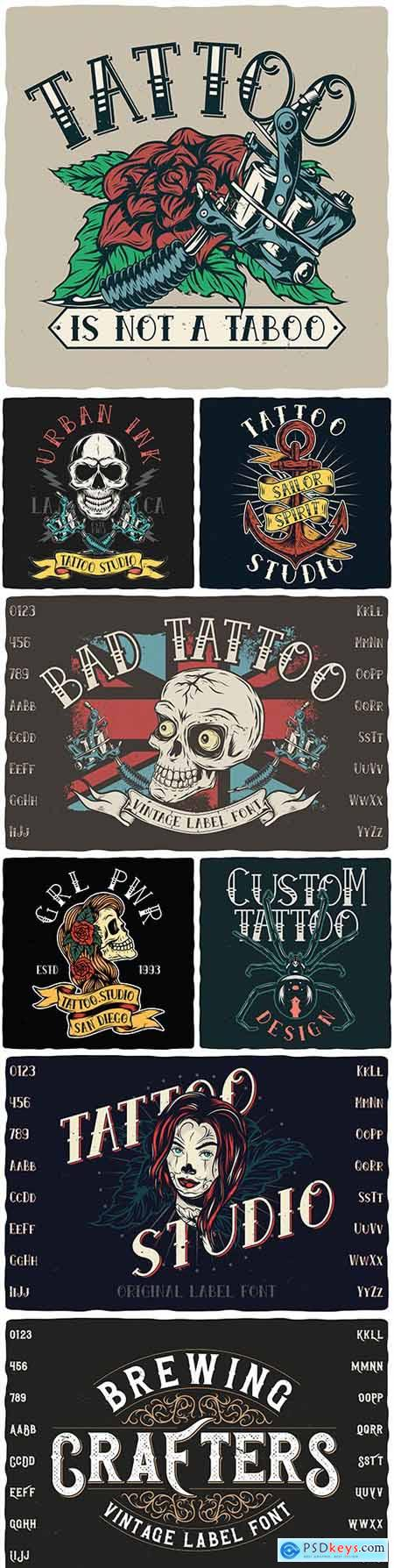 Vintage font and label design tattoo illustration