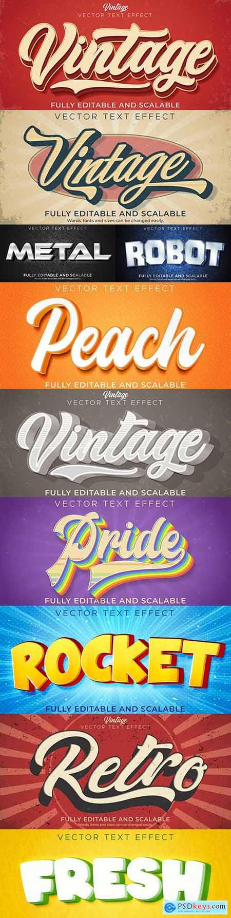 Editable font and 3d effect text design collection illustration 31
