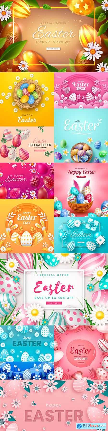 Bright Easter sale realistic illustration in paper style