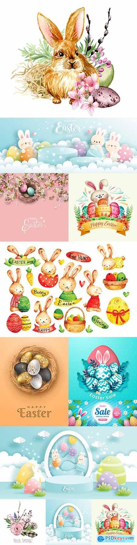 Happy Easter illustrations bunny and elements design 6