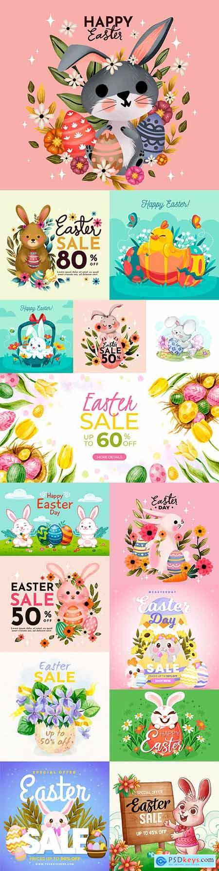 Happy Easter watercolor illustrations bunny and egg elements