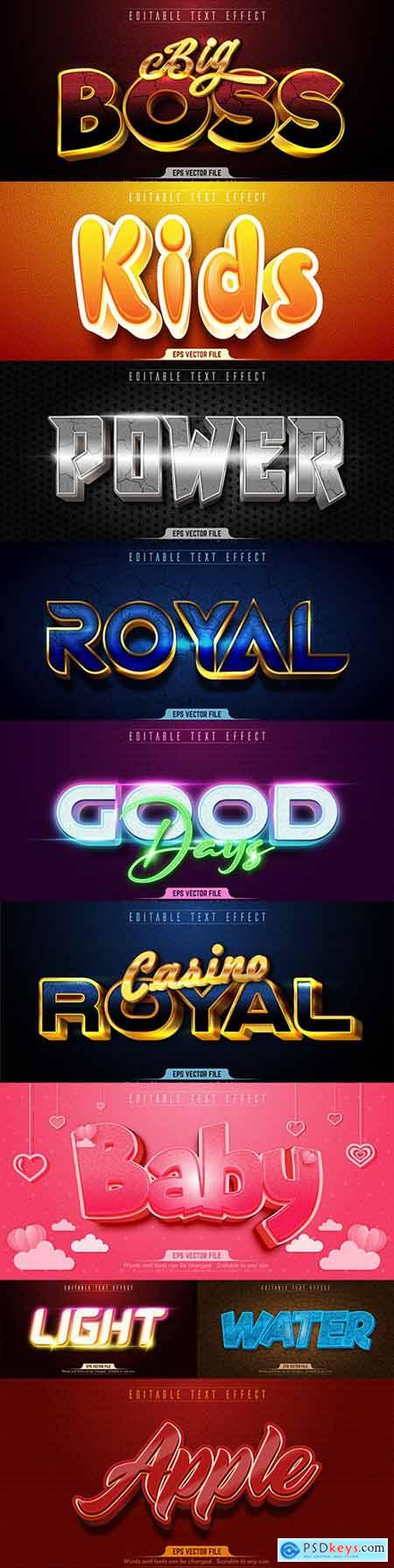 Editable font and 3d effect text design collection illustration 28