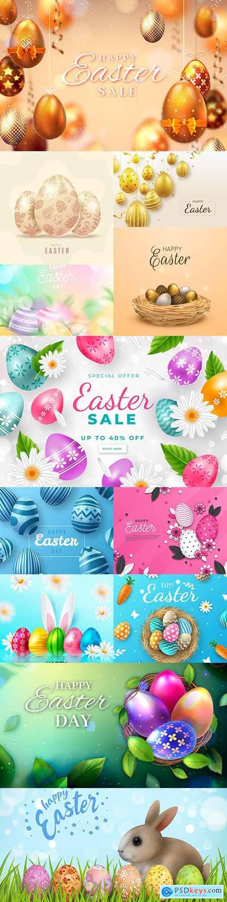 Happy Easter collection of realistic illustrations with eggs 2