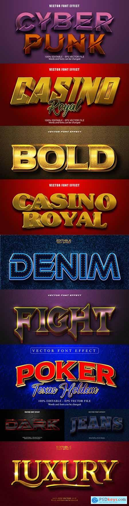 Editable font and 3d effect text design collection illustration 27