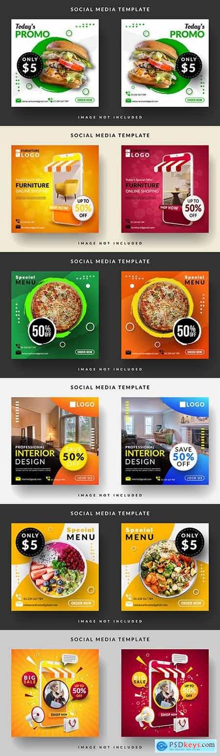 Square menu banner for social media message template