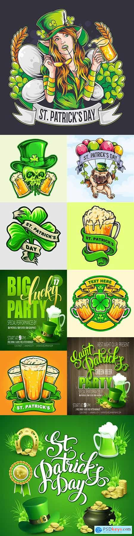 St Patricks Day party and design emblems illustrations 10